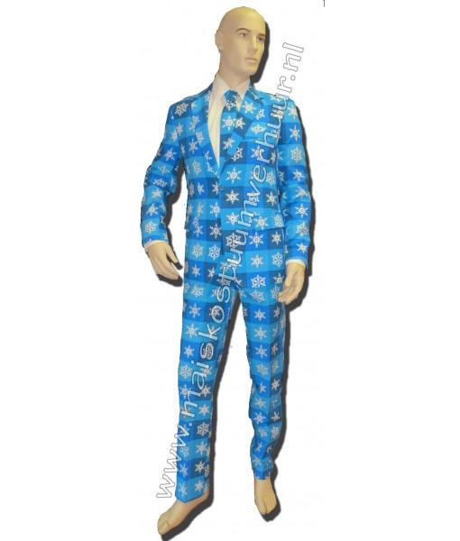 Heren Kostuum Kerst Blauw 2