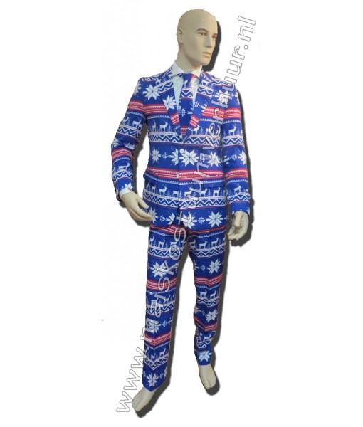 Heren kostuum Kerst blauw